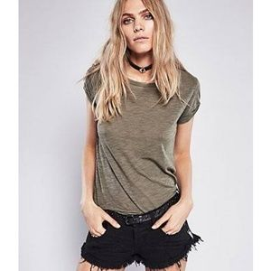Free People Claire Tee Olive Green Size Medium